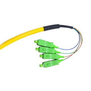G657A1 SC / APC Pigtail Simplex , Yellow 4 Core Single Mode Fiber Optic Cable