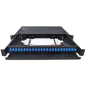 24 Port Fiber Optic Patch Panel 1U 19 Inch SC / LC Connector Drawer With Guild Rail